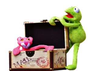 Plush toys in a suitcase