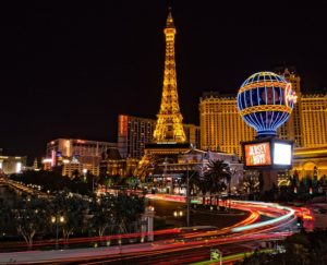 The bustling panoramic view of Las Vegas during the night.