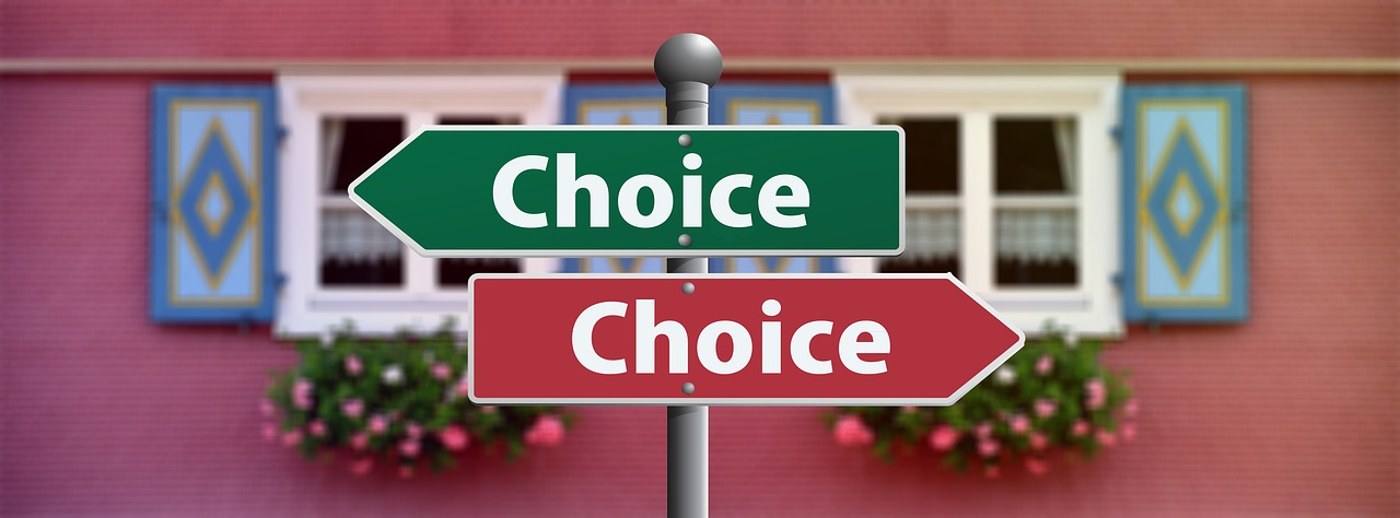 A ''choice'' sign pointing in two directions