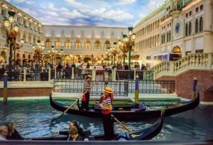 Venice gondola rides in the middle of Las Vegas.