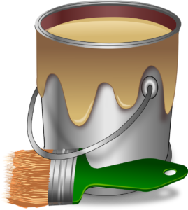 A can of paint and a brush you will need for household repairs after the move.
