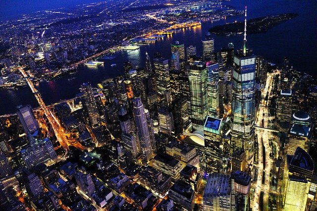 A view of NYC at night.