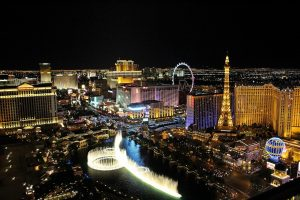 The view of Las Vegas at night.