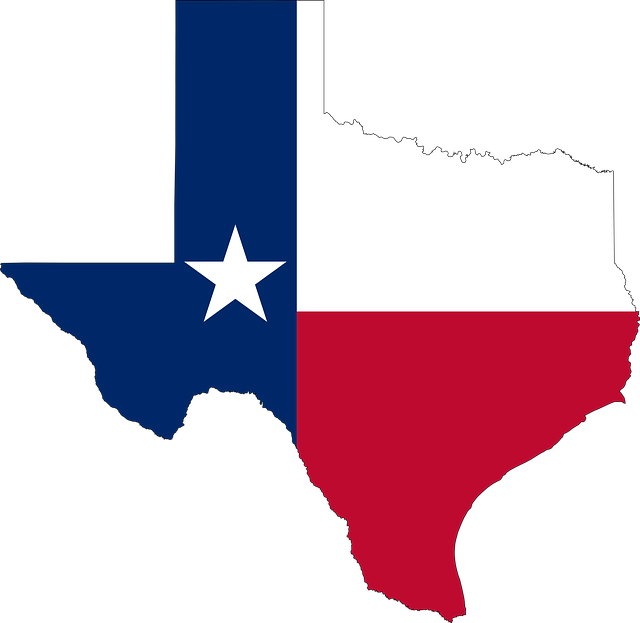 Texas flag and a map.