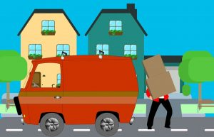 Mover in front of a house.